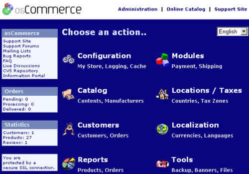 osCommerce Main Screen